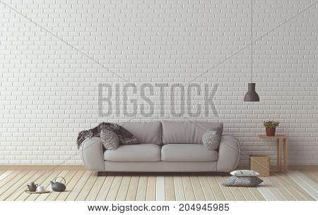 simple living room sofa-and-furniture-set-interior design, 3d illustration in-front-of-white-wall--interior-design