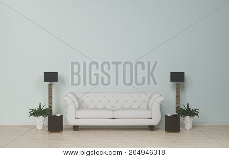 Interior modern living clean wall,white sofa  and armchair on wood floor,carpet and floor lamps in the living room,Business room,3d rendering