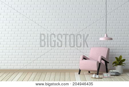 simple living room,pink armchair in front of white wall  interior design 3D illustration Scandinavian interior design and coffee table in office waiting area.