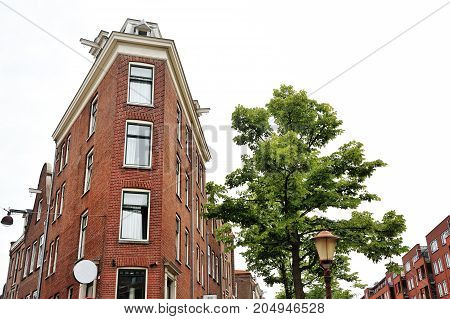 View of a red bricks building and a tree in Amsterdam Holland Europe