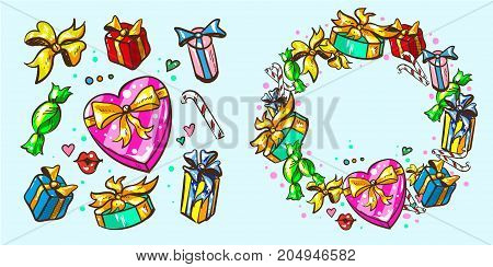 gift packages with frames stock vector art hand drawn