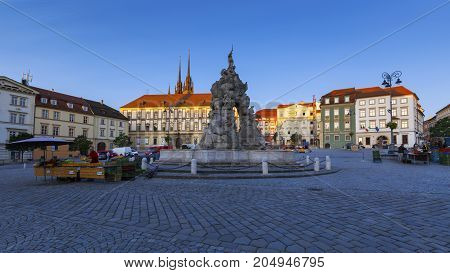 BRNO, CZECH REPUBLIC - AUGUST 23, 2017: Parnas Fountain in Cabbage Market square in the old town of Brno, Czech Republic on August 23, 2017.