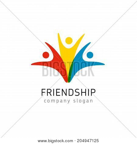 Friendship colored logo people united. Trendy flat style colorful buddies vector symbol, group of friends jumping in joy, having fun isolated on white background