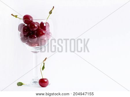 Dark red Cherries in wineglass. Summer berries in glass. Healthy food. White background. Bright photo with copyspace.