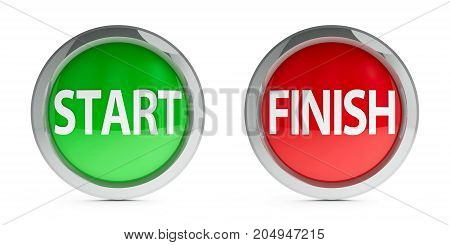 Web buttons start & finish isolated on white background three-dimensional rendering 3D illustration