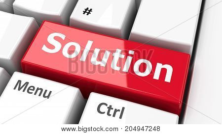 Solution key on the computer keyboard three-dimensional rendering 3D illustration