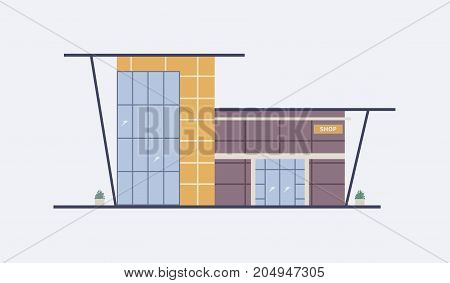 Cartoon city building of shopping mall with large panoramic windows, glass entrance door and awning built in modern architectural style. Shop, outlet or big box store. Flat vector illustration