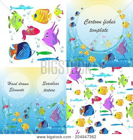 Vector flyer with linear silhouettes of underwater fish. Sketch of bream, carp, trout, salmon, perch in vintage style. Brochures with fishes illustrations for design
