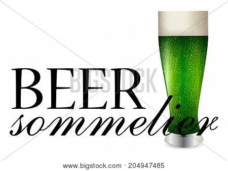 Beer sommelier banner with one beer glass with green brew on white background. Vector illustration