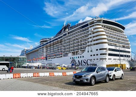 Kiel Germany - September 2 2017: The cruise ship MSC Fantasia at the harbor of Kiel.