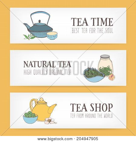 Colorful horizontal banner templates with hand drawn traditional Japanese tetsubin kettle, ceremonial cups, teapot and different types of tea. Vector illustration for shop or teahouse advertisement