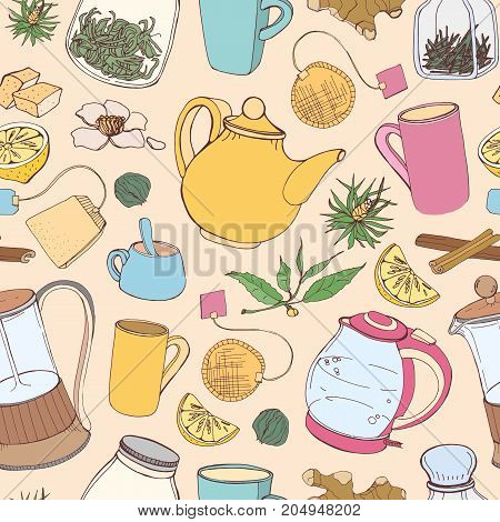Colorful seamless pattern with hand drawn tools for preparing and drinking tea - electric kettle, french press, teapot, cup, mug, sugar, lemon, herbs and spices. Vector illustration for fabric print