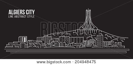 Cityscape Building Line art Vector Illustration design - Algiers city