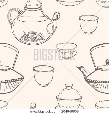 Gorgeous seamless pattern with traditional Asian tea ceremony tools hand drawn in monochrome colors with contour lines - teapot, cups or bowls, kettle. Vector illustration for fabric print, wallpaper
