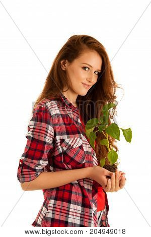 Attractive Beautiful Young Woman Holds Seedling Isolated Over White Background
