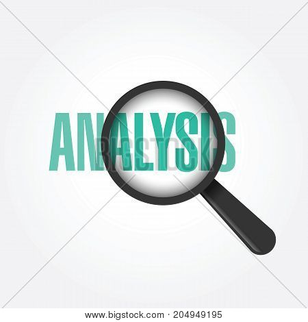 Vector black magnifying glass with word: Analysis