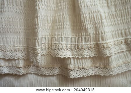 Beige Old Fashioned Fabric With Frills And Lace
