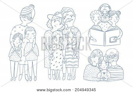 Beautiful full body and waist-up portraits of grandparents with granddaughter and grandson hand drawn with contour lines. Loving grandmother and grandfather with grandchildren. Cartoon characters