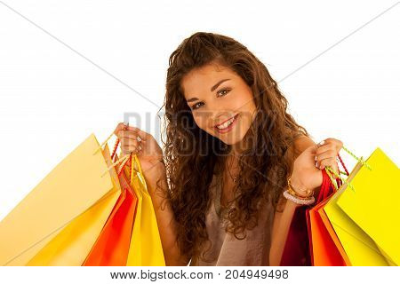 Attractive Young Caucasian Woman With Shopping Bags Isolated Over White Background