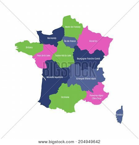 Map of France divided into 13 administrative metropolitan regions, since 2016. Four colors. Vector illustration.