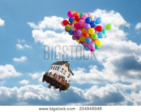 Balloons with house flies above the clouds. Concept