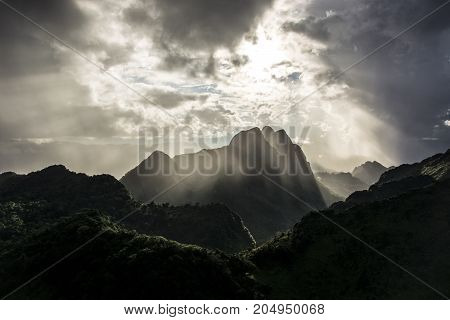 beautiful sunrise over the mountain at the north of thailand. Beautiful landscape. Sunrise on the mountain