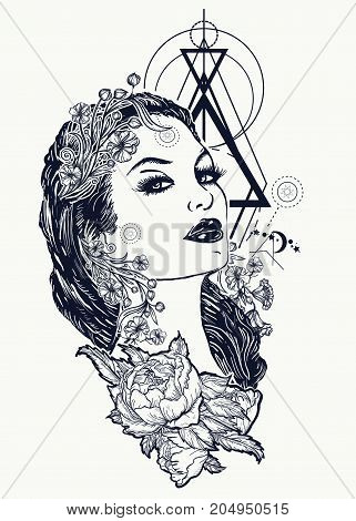Art Nouveau Woman Tattoo And T-shirt Design. Symbol Of A Retro, Queen, Princess, Lady, Elegance, Gla