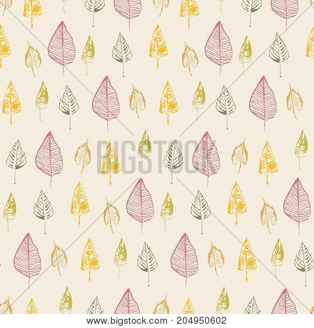 Hand drawn leaves. Vector seamless pattern. Doodle stylized image. Sketch style. Autumn leaf fall background.