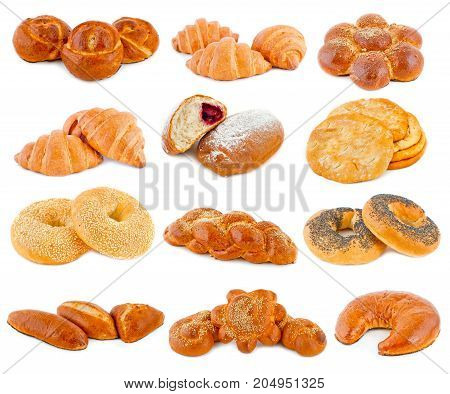 Various Kinds Of Bread On A White Background