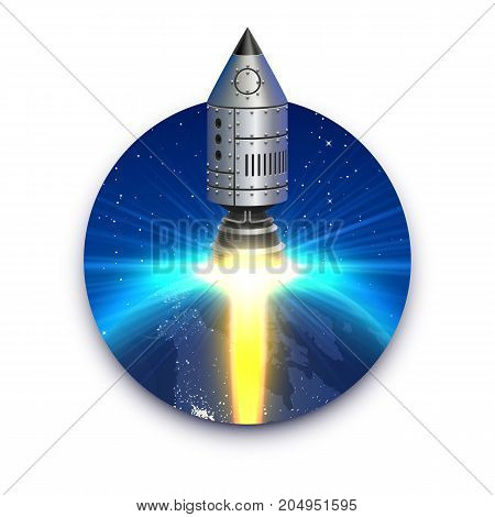 Space rocket launch, Startup creative idea, Rocket isolated background, Vector illustration