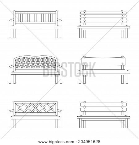 Set of contours of bench, vector illustration