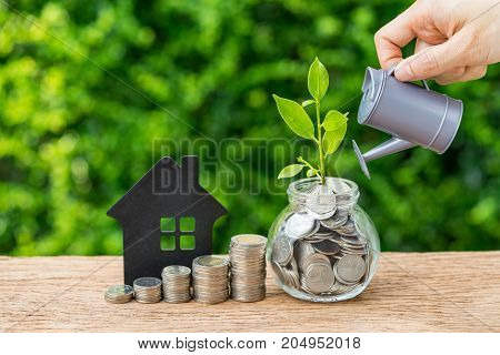 Stack of coins paper house and growth sprout plant with hand watering as business finance or grow investment concept.