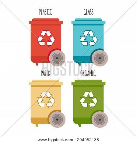 Recycle bins. Waste management and recycle concept. Bins with waste types for your design