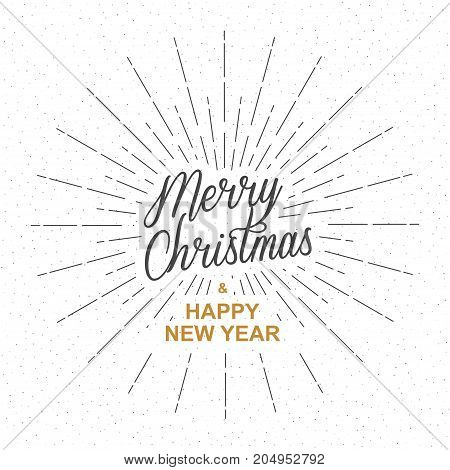 Merry Christmas and Happy New Year greeting card template. Calligraphy inscription Merry Christmas and Happy New Year with rays of burst. Isolated on white background. Vector illustration.