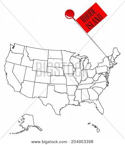 An outline map of USA with a knob pin in the state of Rhode Island