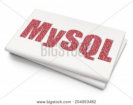 Database concept: Pixelated red text MySQL on Blank Newspaper background, 3D rendering
