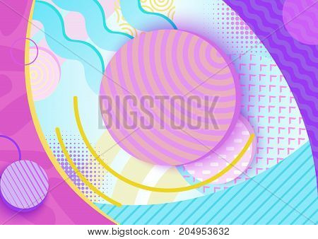 Abstract poster in trendy 80s-90s memphis style with patterns, frames and geometric shapes, colorful background with text place, vector illustration
