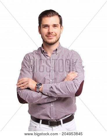 Portrait of happy young man smiling isolated