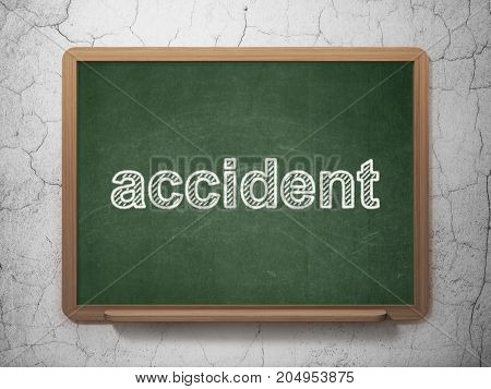 Insurance concept: text Accident on Green chalkboard on grunge wall background, 3D rendering
