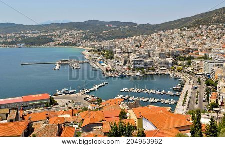 View to the port and downtown Kavala in Greece