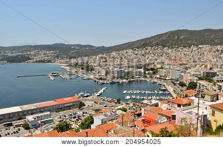 View to the port and downtown Kavala in Greece.