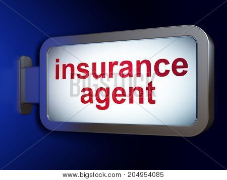 Insurance concept: Insurance Agent on advertising billboard background, 3D rendering