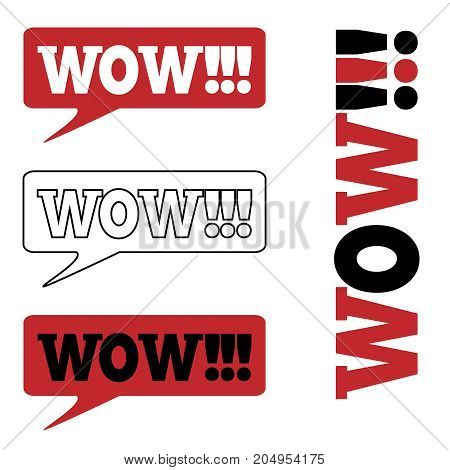 WOW Message bubble with emotional text Wow Retro speech bubbles set with red, white and black words.