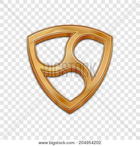 Golden nem coin symbol isolated web vector icon. Nem coin trendy 3d style vector icon. Raised symbol illustration. Golden nem coin crypto currency sign.