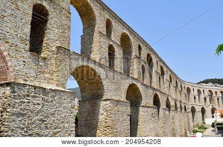 Kamares medieval aqueduct in city Kavala Greece.