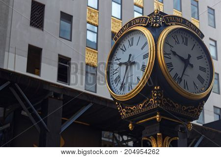 New York City, Usa, September 10, 2017 : Clock In Front Of Trump Tower. Trump Tower Serves As The He