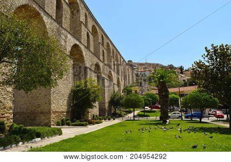 Kamares medieval Roman aqueduct in city Kavala Greece.
