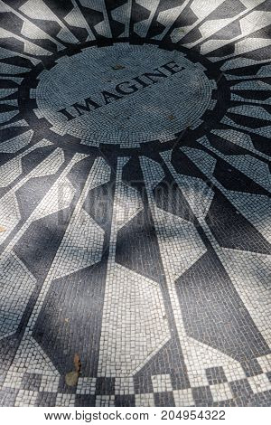 New York City, Usa, September 10, 2017 : Central Park Strawberry Fields. On October 9, 1985, On What
