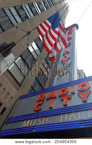 New York City, Usa, September 10, 2017 : Radio City Music Hall Is An Entertainment Venue In Rockefel