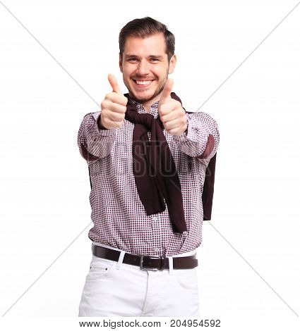Happy man giving thumbs up sign - portrait on white background